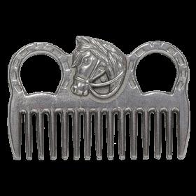 Гребешок EQUIMAN алюминиевый с головой лошади